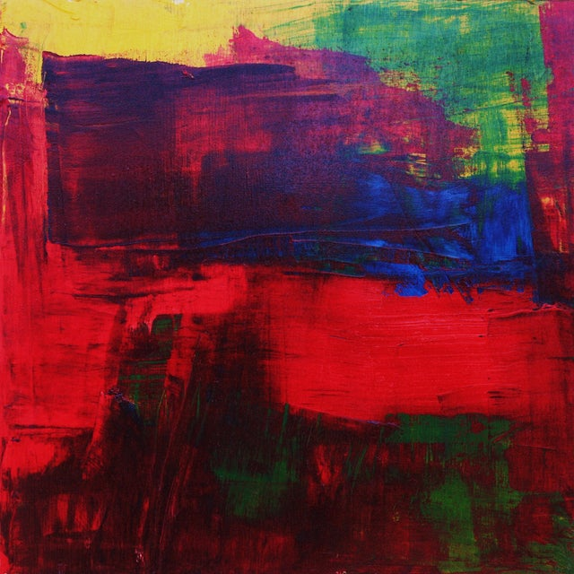 Red, Blue, Green & Yellow Abstract Modern Acrylic - Image 1 of 3