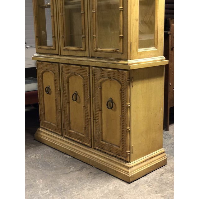 Vintage Yellow Faux Bamboo China Cabinet For Sale - Image 11 of 13