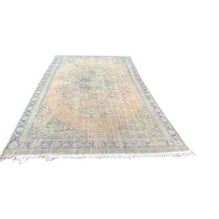 "Turkish Antique Floor Oushak Rug - 7'6"" x 12'7"" For Sale"
