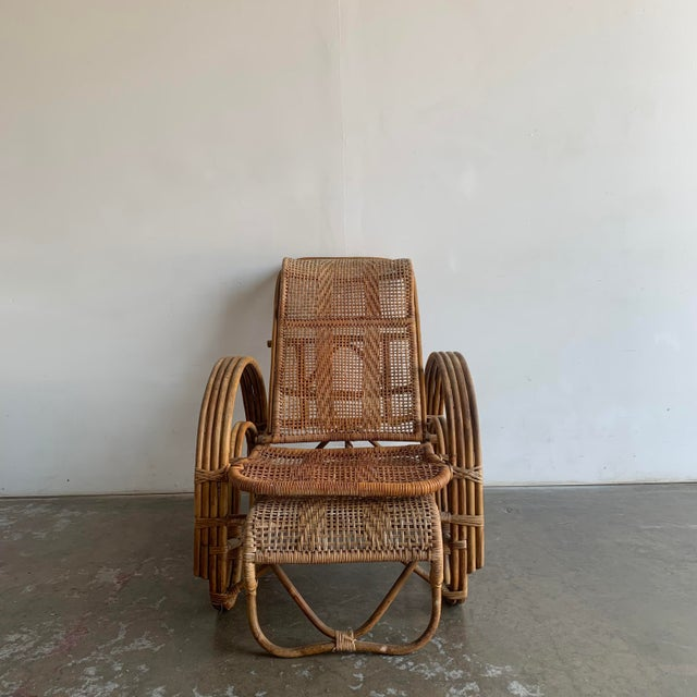 Brown Woven Cane Lounge Chair with Pull Out Foot Rest For Sale - Image 8 of 13