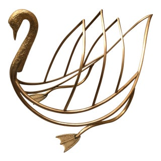 Vintage Maison Jensen Style Brass Swan Magazine Holder Rack For Sale