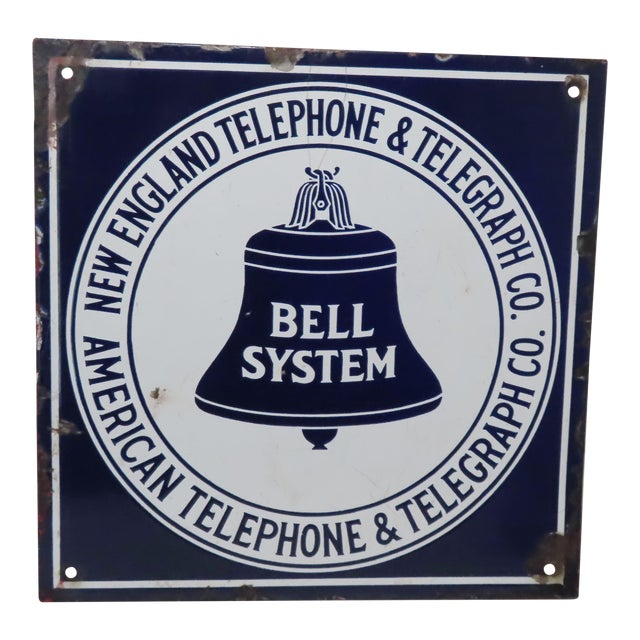 Antique Porcelain on Steel Bell Telephone Advertising Sign For Sale