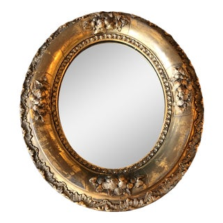 19th Century Antique Small Gilt Oval Mirror With Original Gilders Label For Sale
