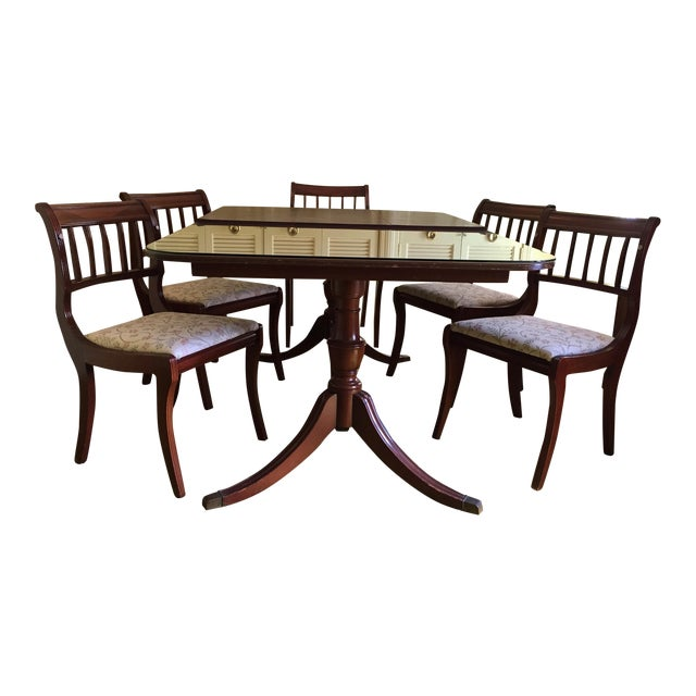 Henredon Heritage Regency Style Dining Table and Chairs - Set of 7 For Sale