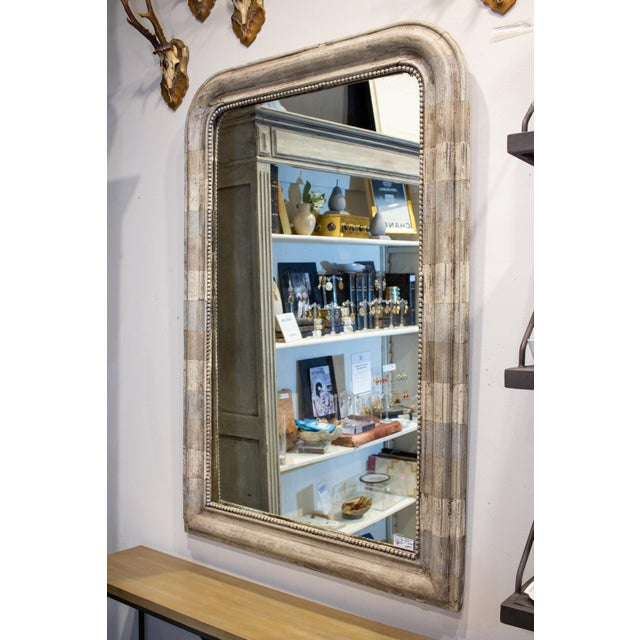 Antique French Louis Philippe Mirror With Hand Painted Greige Stripe Finish For Sale - Image 4 of 13