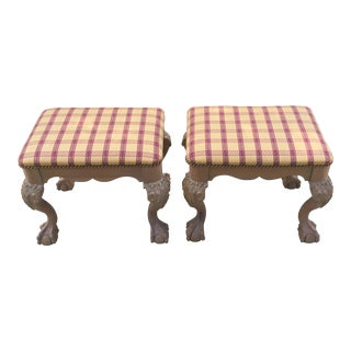 Chippendale Ball & Claw Carved Vintage Benches or Ottomans - a Pair For Sale