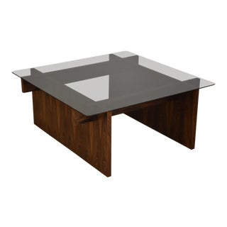 Rosewood and Glass Square Coffee Table