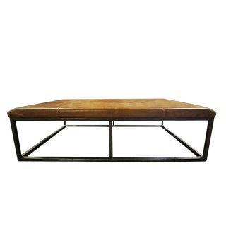 20th Century Minimalist Leather & Metal Bench