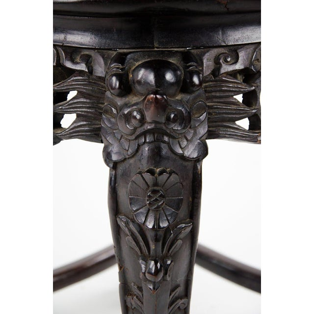 19th C. Chinese Marble-inlaid Carved Wooden Tabouret For Sale - Image 9 of 12