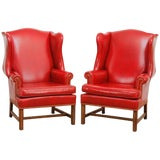 Image of Pair of Georgian Style Red Leather Wingback Library Chairs For Sale