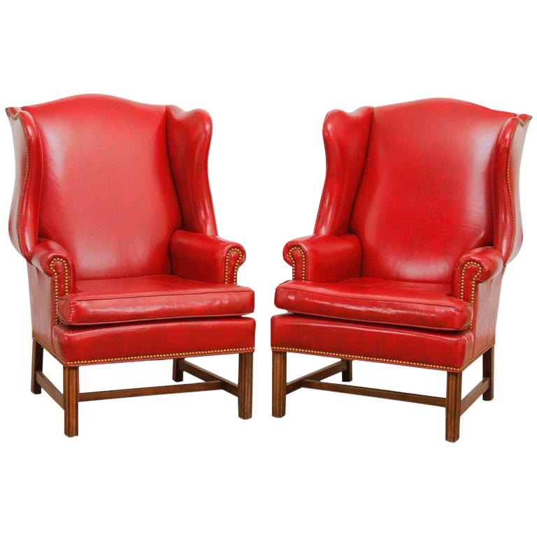 Pair Of Georgian Style Red Leather Wingback Library Chairs For Sale