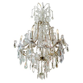 French 1940s Marie Therese Glass & Crystal Chandelier With Six Outer Lights For Sale