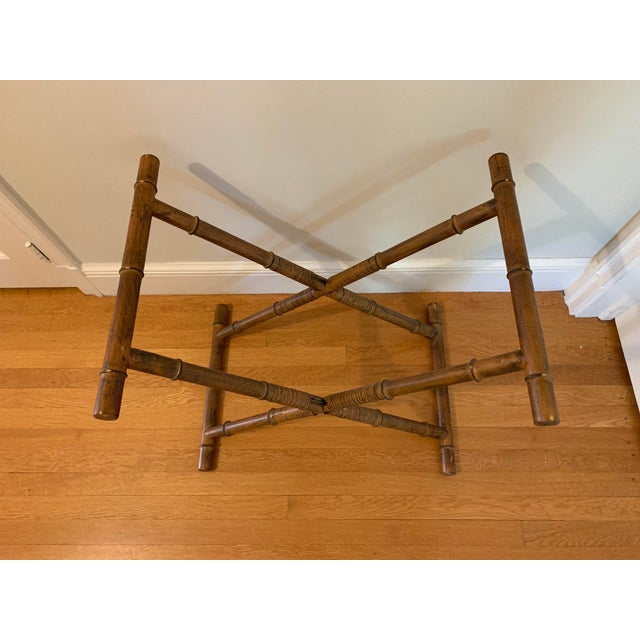1960s Mid Century Faux Bamboo and Rattan Folding Tray Table For Sale - Image 4 of 12