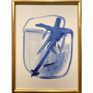 Contemporary Blue and White Abstract Framed Painting For Sale