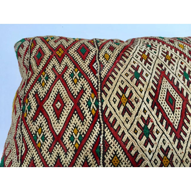 Textile Moroccan Berber Pillow With Tribal African Designs For Sale - Image 7 of 13