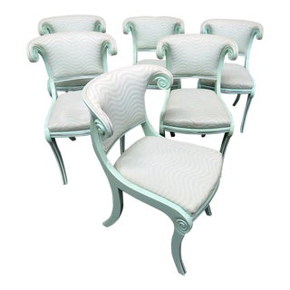 Art Deco Teal Lacquered Side Chairs - Set of 6 For Sale