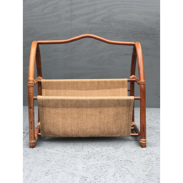 Americana 1960s Vintage Bamboo Canvas Magazine Holder For Sale - Image 3 of 7