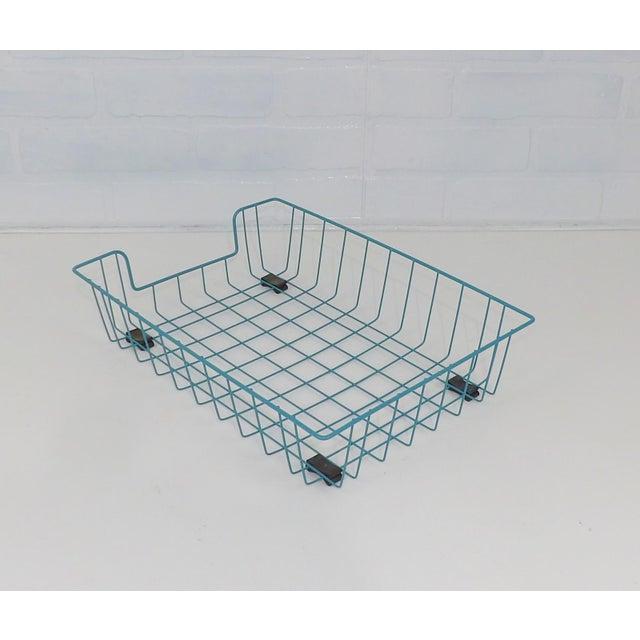 Teal Aqua Blue Mid-Century Modern Metal Wire File Basket or Magazine Rack For Sale - Image 4 of 7