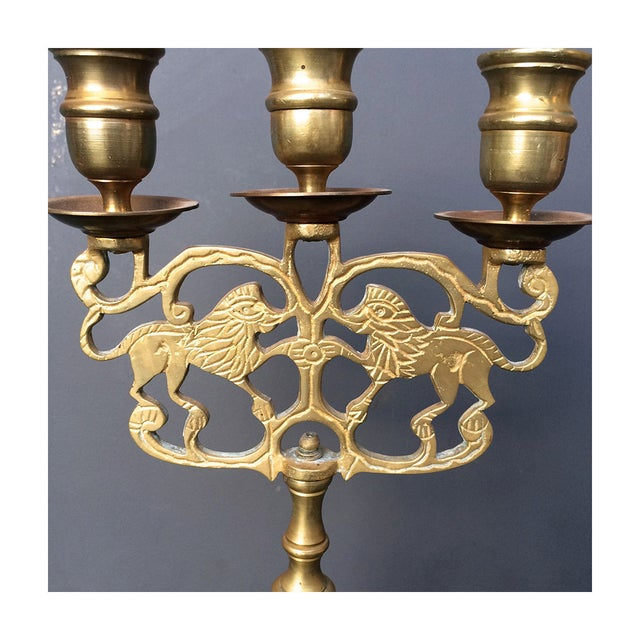 Brass Candelabra Candelabra With Lions - Pair - Image 6 of 6