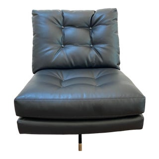 """Mid-Century Modern Milo Baughman for Thayer Coggin Black Leather With Brushed Bronze Base """"Steve Spinner"""" Armless Swivel Lounge Chair For Sale"""