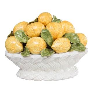 Large Vintage Italian Majolica Lemons Basket Centerpiece For Sale