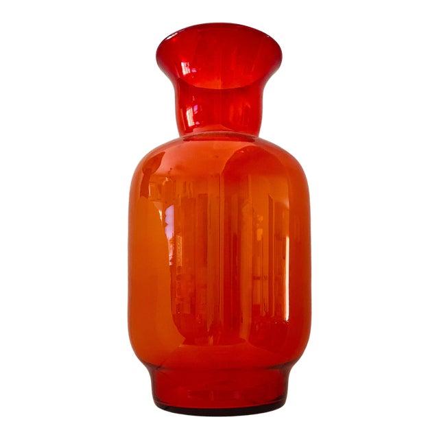 Blenko Tangerine Orange Floor Vase Scarce Oversized - # 7048 For Sale