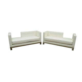 Late 20th Century J.A. Casillas White Vinyl Chrome Brushed Metal Chaise Sofas- A Pair For Sale