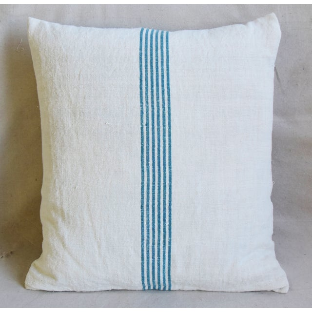 """Boho Chic Aqua Striped French Homespun Grain Sack Textile Feather/Down Pillows 21"""" Square - Pair For Sale - Image 3 of 13"""