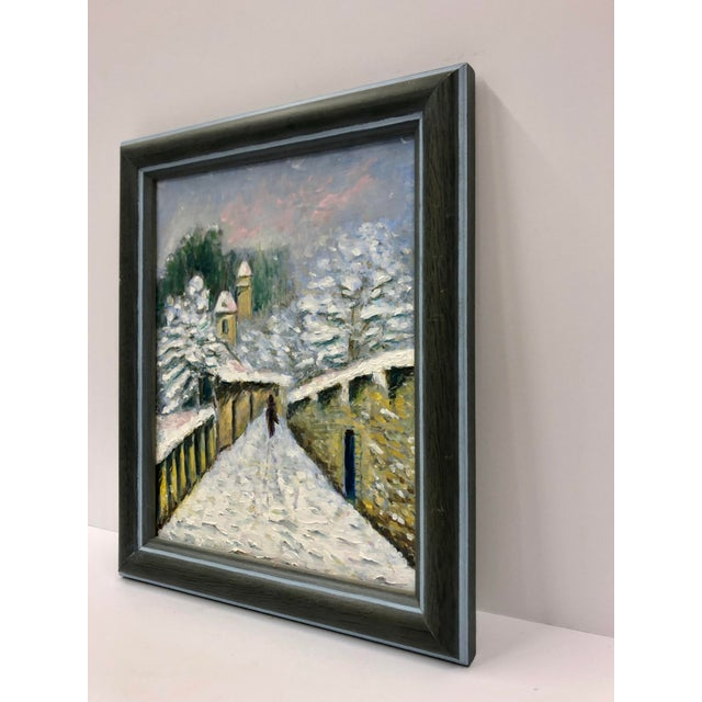 Petite oil painting of a delicate winter scene, painted on a board and framed. Signed Genevieve Roberto.
