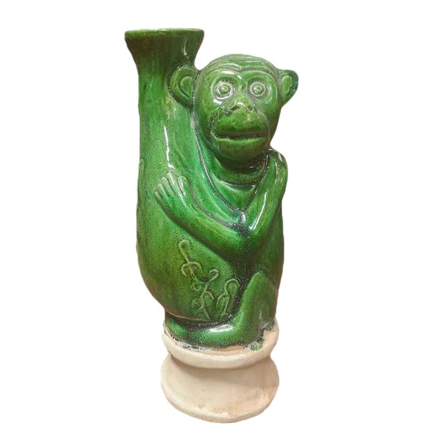 Green Ceramic Monkey Vase For Sale
