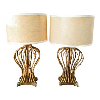 A Pair Metal Faux Bamboo Palm Beach Regency Table Lamps W/Woven Rattan Shades For Sale