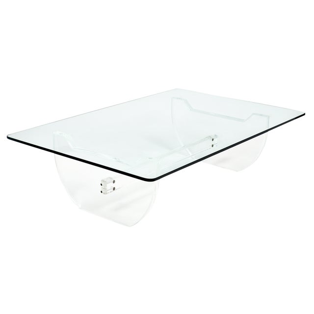 French Modernist Lucite Coffee Table For Sale