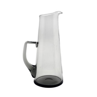 Mid-Century Modern Holmegaard Style Smoke Gray Handmade Glass Martini Pitcher For Sale