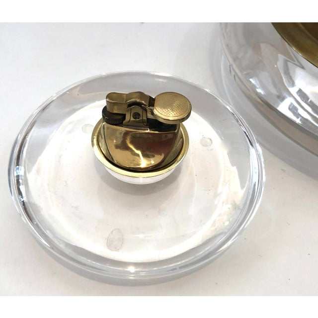 Mid-Century Modern Mid-Century Set of Lucite & Brass Catchall & Lighter For Sale - Image 3 of 13