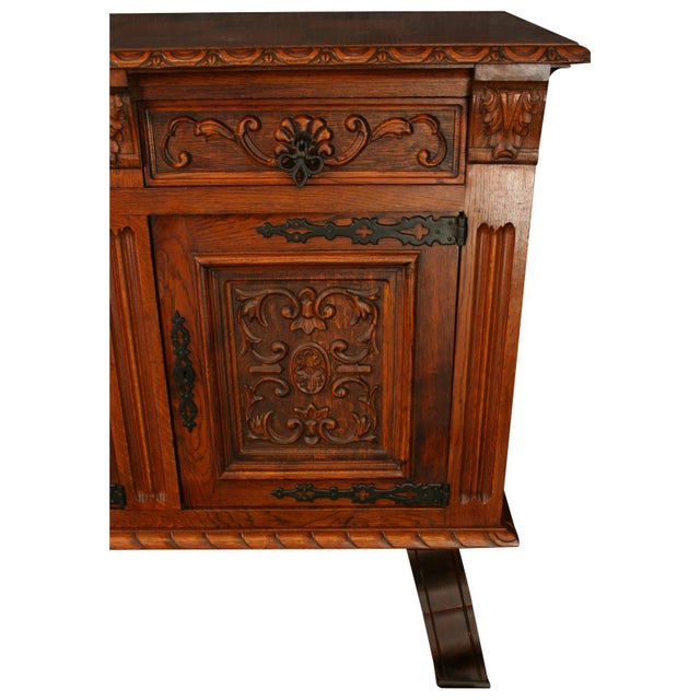 1950s 1950s French Renaissance-Style Oak Sideboard For Sale - Image 5 of 8