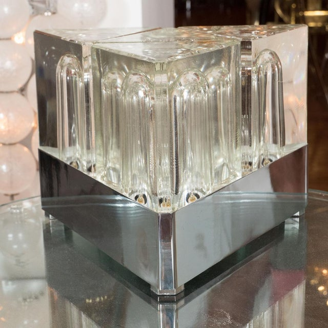 Mid-Century Modern 1960s Triangular Glass Table Lamp For Sale - Image 3 of 5