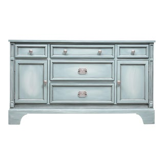 Shabby Chic Blue Blended Buffet Credenza For Sale