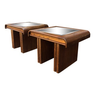 1970s Mid-Century Modern Mirror Top End Tables - a Pair For Sale