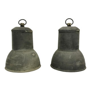 Copper Industrial Lanterns - a Pair