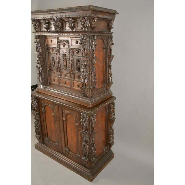 "Absolutely gorgeous heavily carved continental court 2-piece cupboard, 65""h X 36""w X 19""D . Truly extraordinary 17th /..."