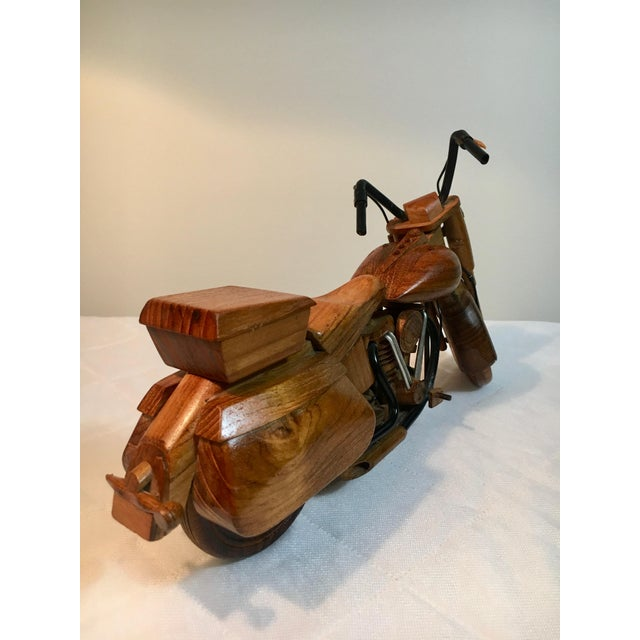 Mid 20th Century Mid-Century Modern Wooden Model Motorcycle Replica For Sale - Image 5 of 9