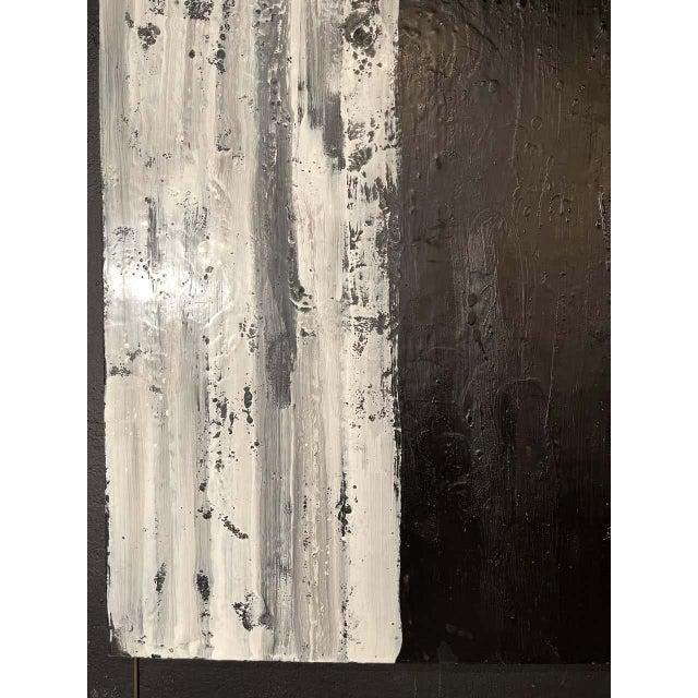 "Lynn Basa Encaustic Black and White Stripe Panel ""Three Ways of Looking Black"" For Sale - Image 11 of 13"
