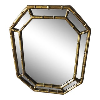 1970s Vintage Gold Faux Bamboo Octagonal Mirror
