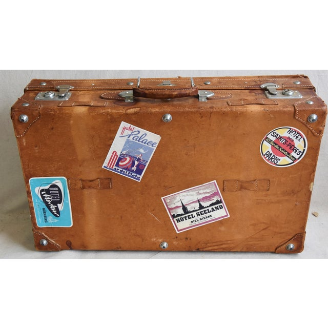 1940s Tanned Leather Suitcase Luggage With Travel Stickers For Sale - Image 4 of 9