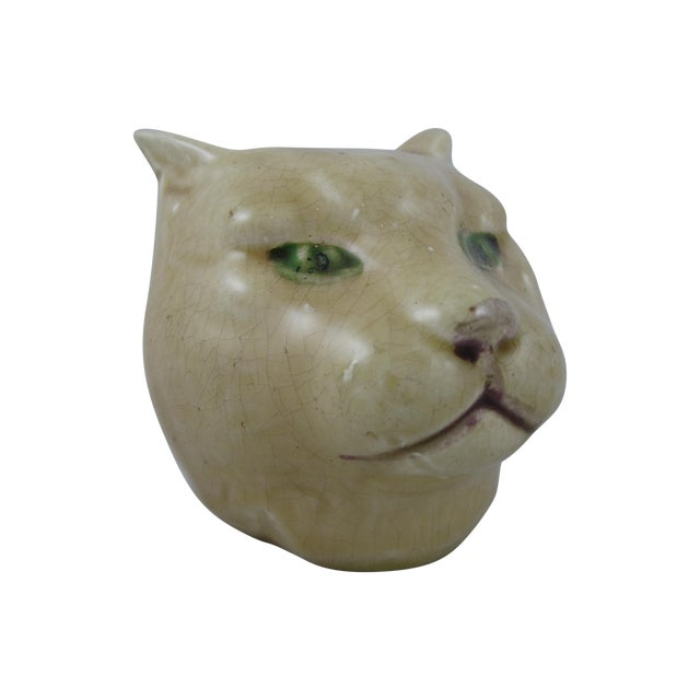 Antique French Orchies Majolica Cat Head Bank - Image 1 of 8