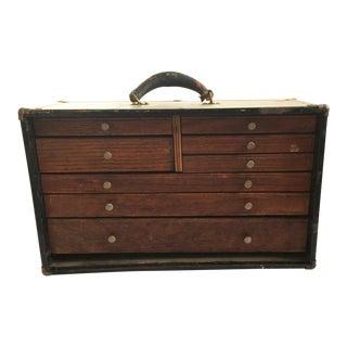 Antique / Vintage Machinist Carpenter's Tool Box Chest For Sale