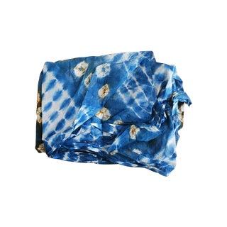 Hand-Dyed Blue Tye-Dye Cotton Tribal Fabric