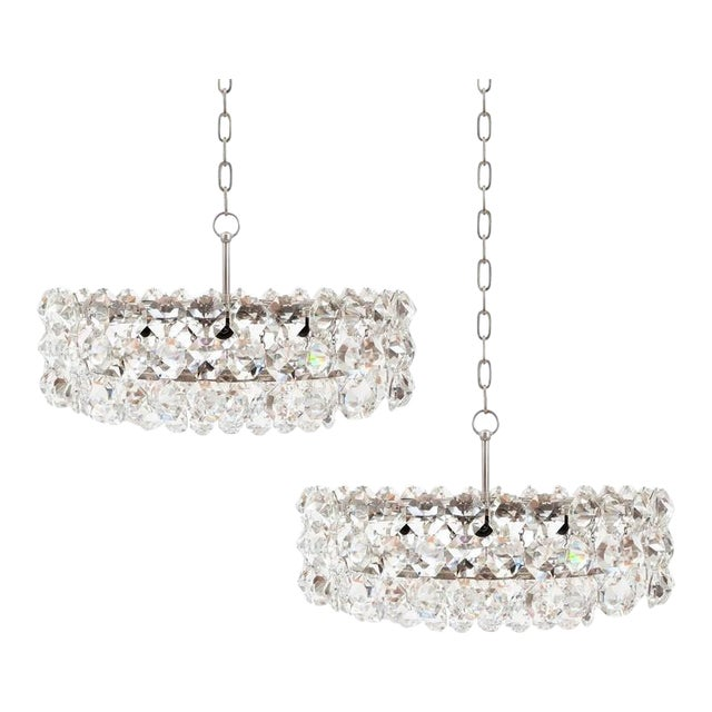 Pair of Large Bakalowits and Sohne Vienna Drum Chandeliers For Sale