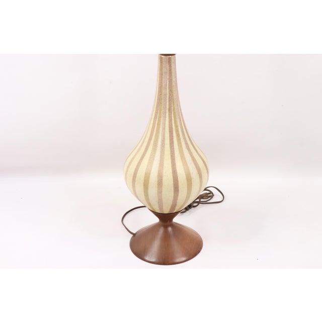 Mid-Century Modern Vintage 1970s Mid Century Modern Striped Ceramic Teak Wood Table Lamp For Sale - Image 3 of 9