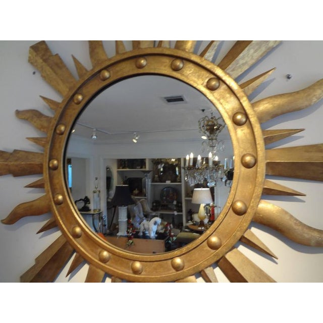 Metal 1960's Vintage Italian Gilt Iron Sunburst Mirror in the Style of Gilbert Poillerat For Sale - Image 7 of 9